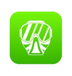 Paintball mask icon digital green vector