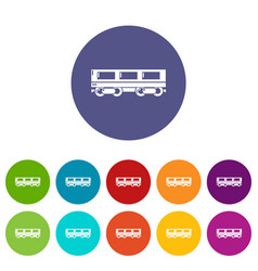 passenger carriage icons set color vector image
