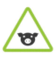 Pig warning halftone icon vector