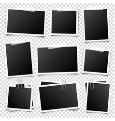 realistic blank photo card frame film set retro vector image