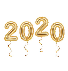 realistic golden balloons decoration 2020 happy vector image