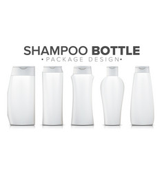 Realistic shampoo bottle set packaging mock up vector