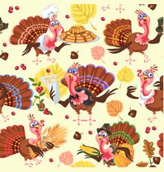 Seamless pattern cartoon thanksgiving turkey vector