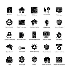 search engine and optimization icons vector image