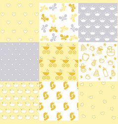 set of baby patterns seamless pattern vector image