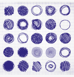 Set of blue pencil hand drawn doodle borders on vector