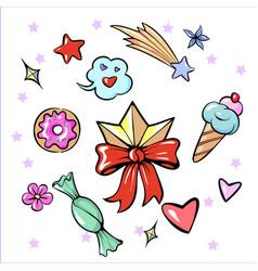 Set of fun trendy diadem sweets heart star vector