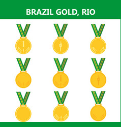 Set of gold medals icons brazil rio summerflat vector