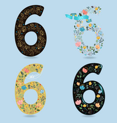 Set of retro floral numbers six vector