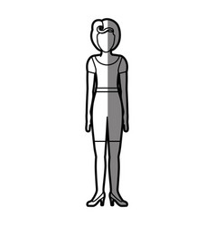 Silhouette shading body faceless woman with t vector