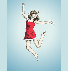 sketch jumping woman in christmas dress hand vector image