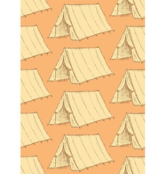 Sketch touristic tent in vintage style vector image