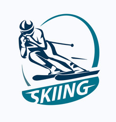 Skiing stylized symbol logo or emblem template vector