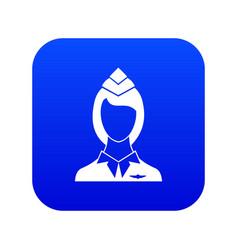 Stewardess icon digital blue vector
