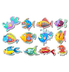 Sticker set with fancy fish vector