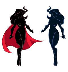 Superheroine flying silhouette vector