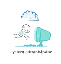 System administrator to computer flies vector