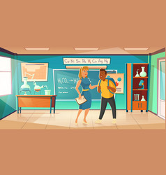 teacher greeting student in chemistry classroom vector image