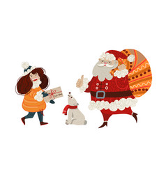 the girl carries a letter to santa claus vector image