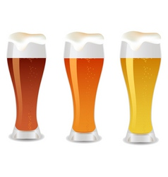 three glass with beer vector image
