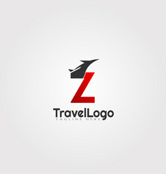 Travel agent logo design with initials z letter vector