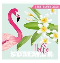 Tropical Graphic Design - Flamingo and Flowers vector
