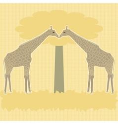 Two giraffes under tree vector image