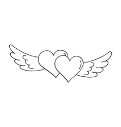 Valentines hearts with wings vector image