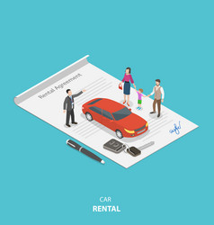 Vehicle rental flat isometric concept vector