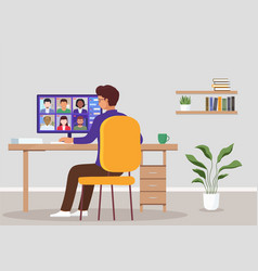 video conference from home concept online meeting vector image