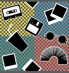 vintage 90s style elements set vector image