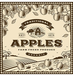 Vintage brown apples label vector image