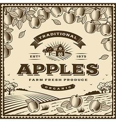 Vintage brown apples label vector image
