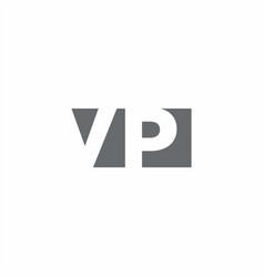 Vp logo monogram with negative space style design vector
