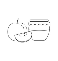 whole and red apples and honey jar icon in black vector image
