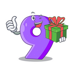 With gift number nine balloon font shaped charcter vector