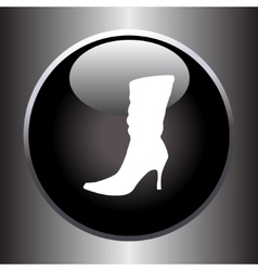 Women winter boot flat icon on black button vector image