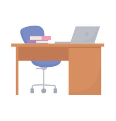 workspace office desk laptop chair and books vector image