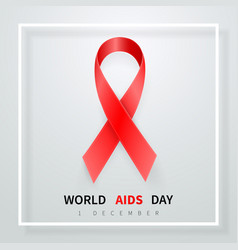 world aids day symbol 1 december realistic red vector image