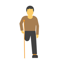 amputee faceless person on crutches vector image vector image