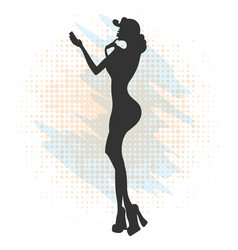 glamorous lady in red dress and red shoes makes vector image