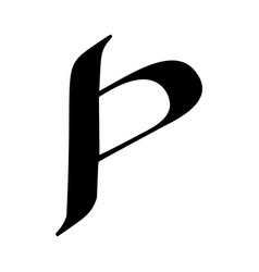 Letter p painted brush vector
