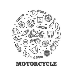 line icons moto parts motorcycle vector image