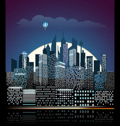 modern cityscape in the night city buildings vector image vector image