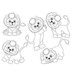 set of cute cartoon lions vector image vector image