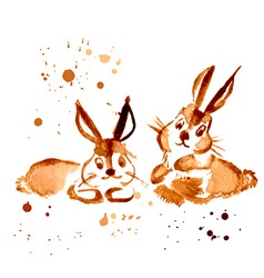 Two Brown Rabbit Painted Coffee vector image vector image