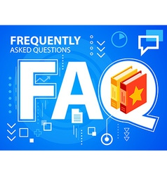bright faq and books on blue background for vector image