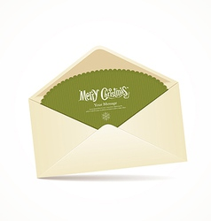 Envelope and green card merry christmas vector image