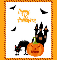 halloween card with cat ghost house pumpkin and vector image