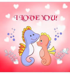 Lovers seahorses greeting card for Valentines day vector image vector image